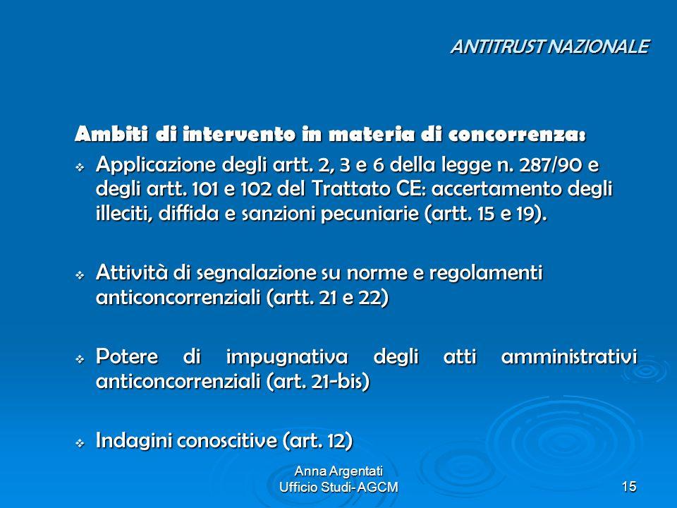 Anna Argentati Ufficio Studi- AGCM15 ANTITRUST NAZIONALE ANTITRUST NAZIONALE Ambiti di intervento in materia di concorrenza: Applicazione degli artt.
