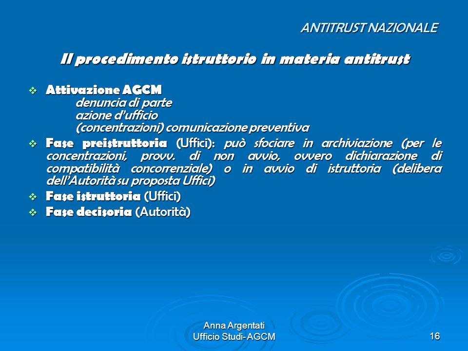 Anna Argentati Ufficio Studi- AGCM16 ANTITRUST NAZIONALE ANTITRUST NAZIONALE Il procedimento istruttorio in materia antitrust Attivazione AGCM denunci