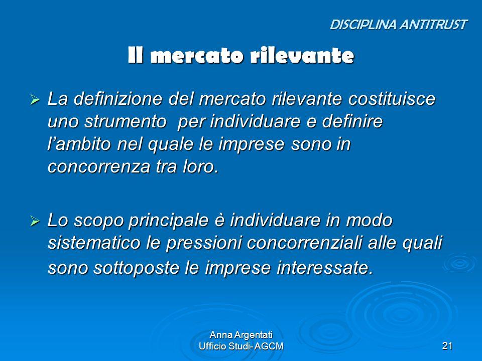 Anna Argentati Ufficio Studi- AGCM21 Il mercato rilevante La definizione del mercato rilevante costituisce uno strumento per individuare e definire la
