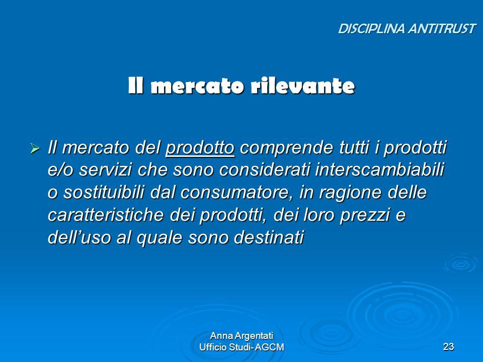 Anna Argentati Ufficio Studi- AGCM23 Il mercato rilevante Il mercato del prodotto comprende tutti i prodotti e/o servizi che sono considerati intersca