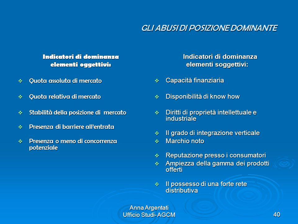 Anna Argentati Ufficio Studi- AGCM40 GLI ABUSI DI POSIZIONE DOMINANTE Indicatori di dominanza elementi oggettivi: Quota assoluta di mercato Quota asso