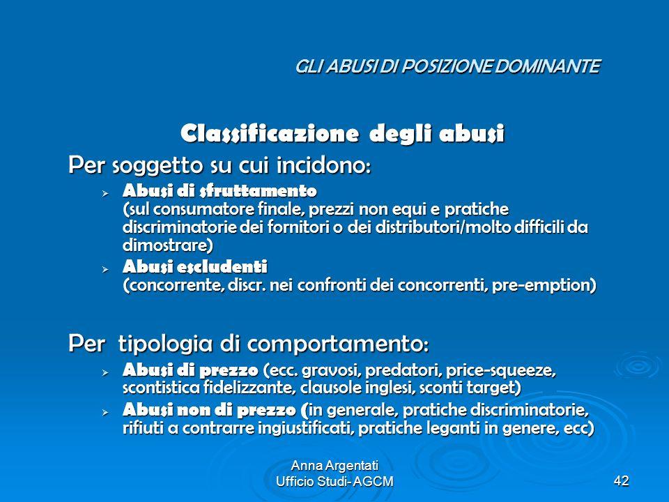 Anna Argentati Ufficio Studi- AGCM42 GLI ABUSI DI POSIZIONE DOMINANTE GLI ABUSI DI POSIZIONE DOMINANTE Classificazione degli abusi Per soggetto su cui