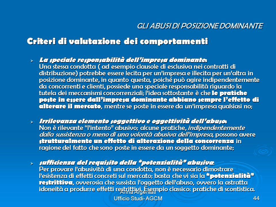 Anna Argentati Ufficio Studi- AGCM44 GLI ABUSI DI POSIZIONE DOMINANTE Criteri di valutazione dei comportamenti La speciale responsabilità dellimpresa