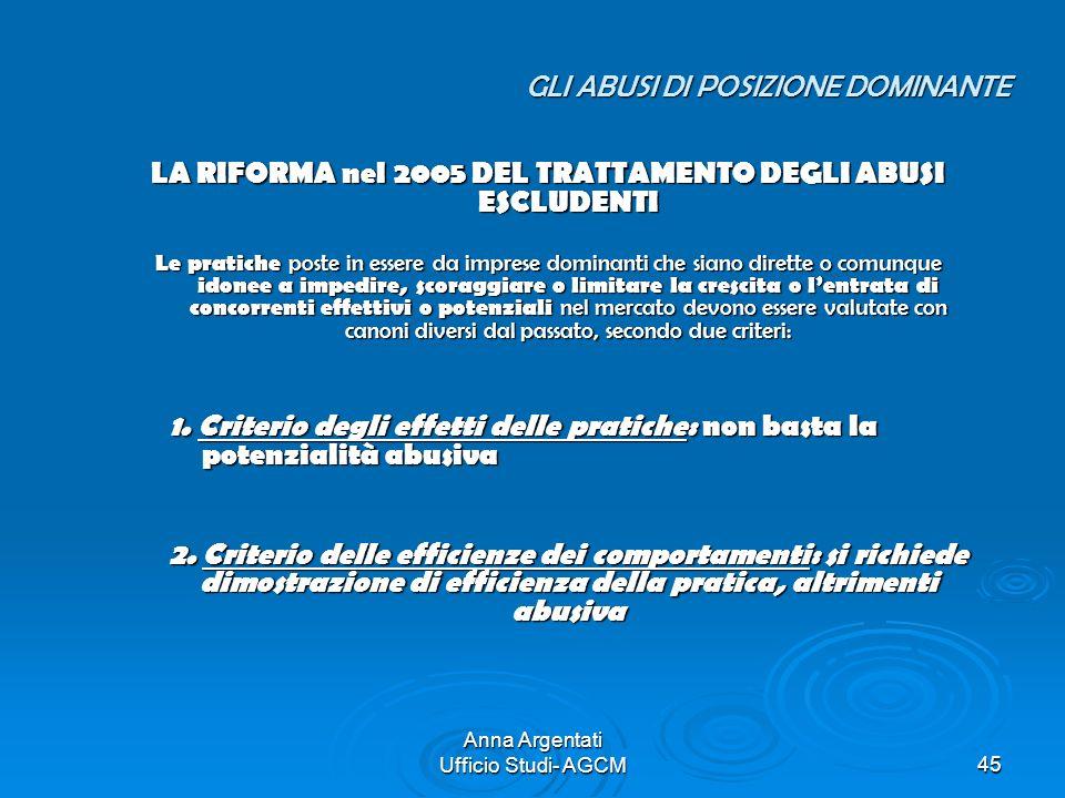 Anna Argentati Ufficio Studi- AGCM45 GLI ABUSI DI POSIZIONE DOMINANTE LA RIFORMA nel 2005 DEL TRATTAMENTO DEGLI ABUSI ESCLUDENTI Le pratiche poste in