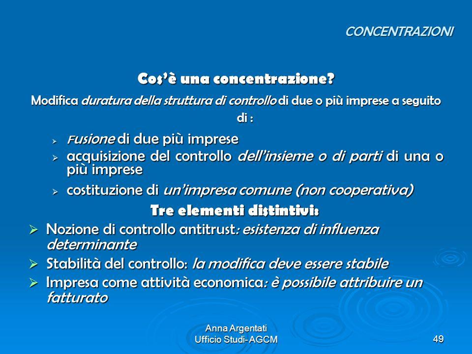 Anna Argentati Ufficio Studi- AGCM49 Cosè una concentrazione? Modifica duratura della struttura di controllo di due o più imprese a seguito di : F usi