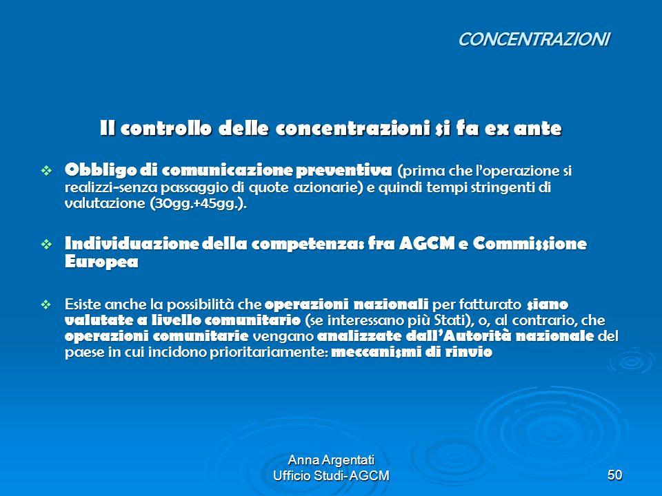 Anna Argentati Ufficio Studi- AGCM50 Il controllo delle concentrazioni si fa ex ante Obbligo di comunicazione preventiva (prima che loperazione si rea