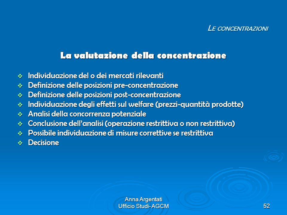 Anna Argentati Ufficio Studi- AGCM52 La valutazione della concentrazione Individuazione del o dei mercati rilevanti Individuazione del o dei mercati r