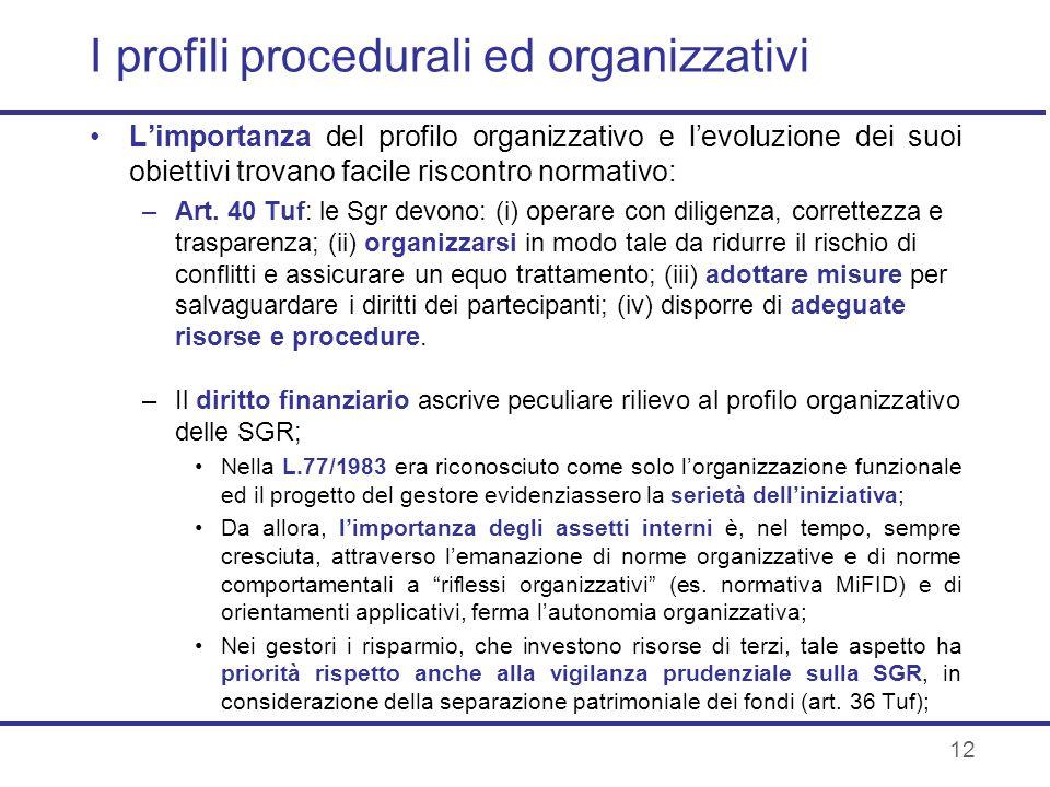 12 I profili procedurali ed organizzativi Limportanza del profilo organizzativo e levoluzione dei suoi obiettivi trovano facile riscontro normativo: –