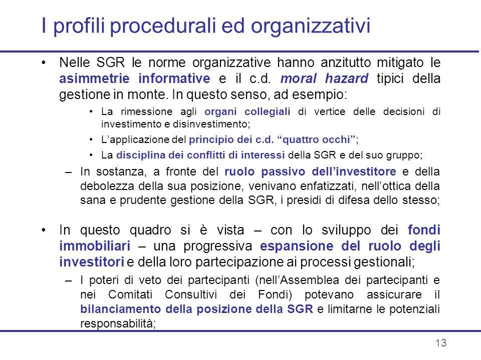 13 I profili procedurali ed organizzativi Nelle SGR le norme organizzative hanno anzitutto mitigato le asimmetrie informative e il c.d. moral hazard t