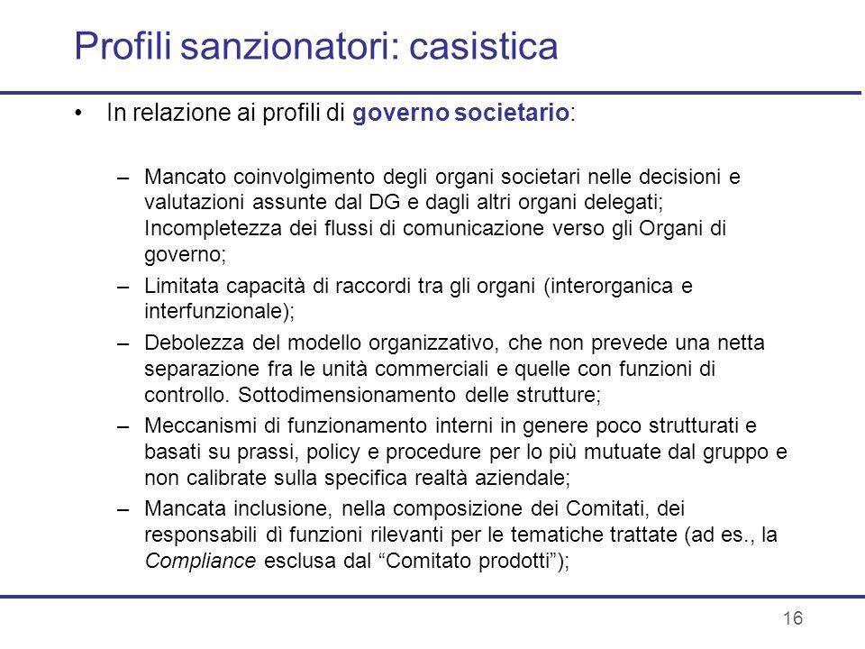 Profili sanzionatori: casistica In relazione ai profili di governo societario: –Mancato coinvolgimento degli organi societari nelle decisioni e valuta