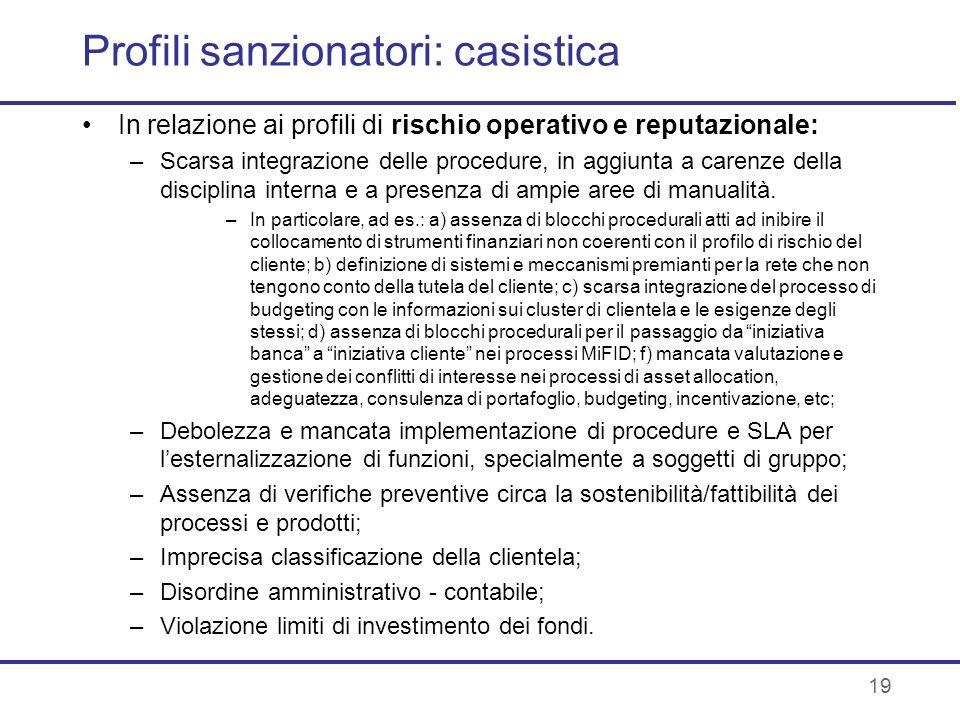 Profili sanzionatori: casistica In relazione ai profili di rischio operativo e reputazionale: –Scarsa integrazione delle procedure, in aggiunta a care