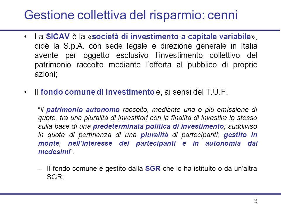 4 I Fondi comuni In generale, i fondi sono prodotti standardizzati cui linvestitore aderisce passivamente con la sottoscrizione delle quote (diverso è per i fondi riservati); Listituzione dei nuovi fondi e lapprovazione dei relativi regolamenti è, salvo disposizioni particolari, di competenza dellorgano amministrativo della SGR.