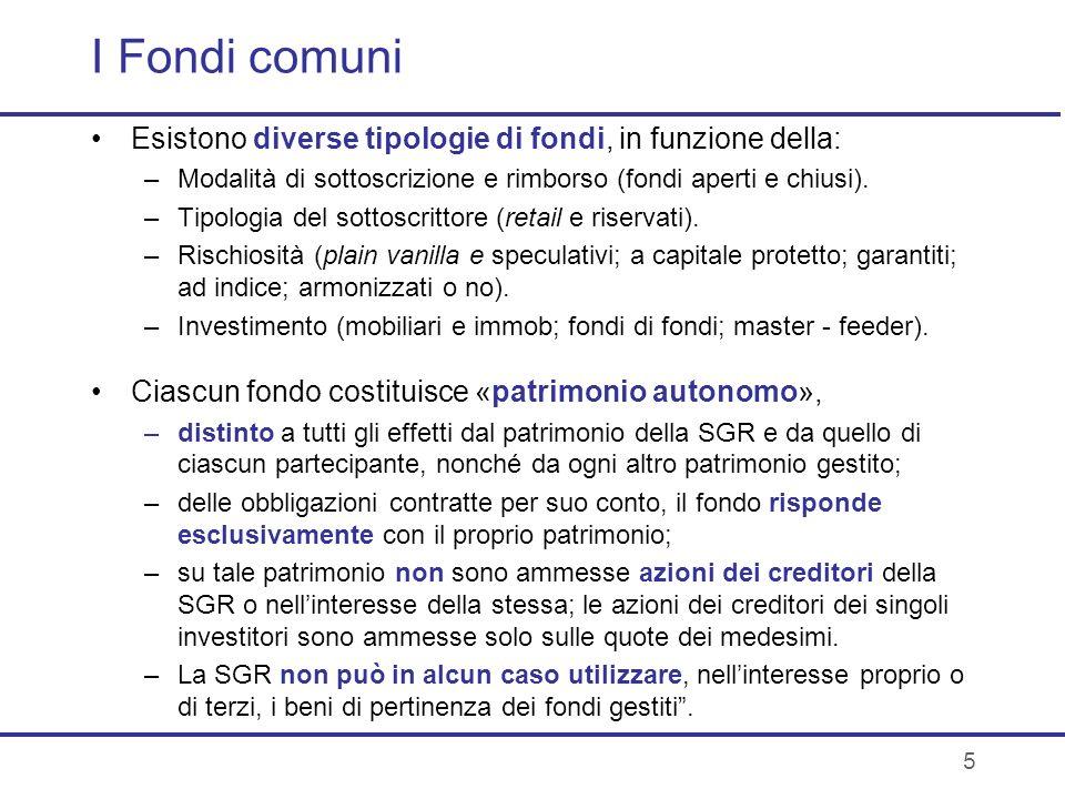 5 I Fondi comuni Esistono diverse tipologie di fondi, in funzione della: –Modalità di sottoscrizione e rimborso (fondi aperti e chiusi). –Tipologia de