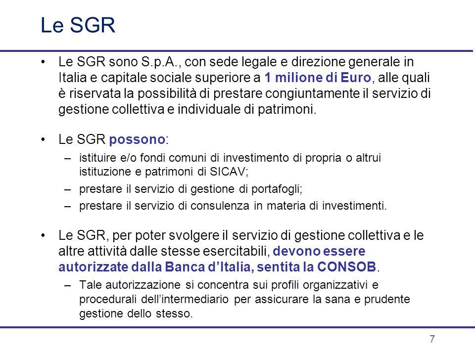 Le SGR Le SGR sono S.p.A., con sede legale e direzione generale in Italia e capitale sociale superiore a 1 milione di Euro, alle quali è riservata la