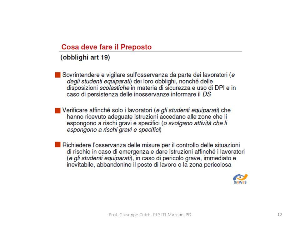 Prof. Giuseppe Cutrì - RLS ITI Marconi PD12