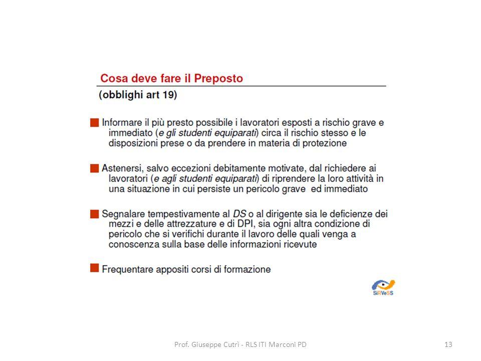 Prof. Giuseppe Cutrì - RLS ITI Marconi PD13