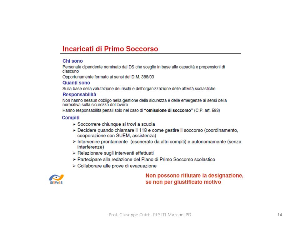 Prof. Giuseppe Cutrì - RLS ITI Marconi PD14
