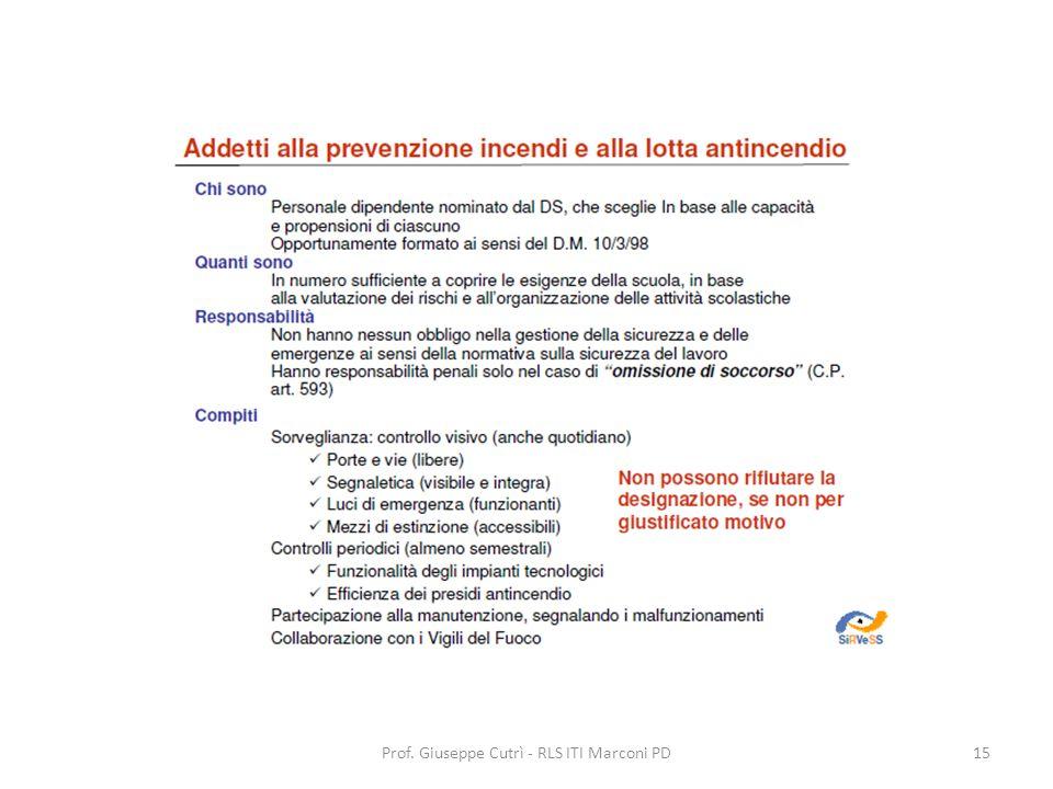 Prof. Giuseppe Cutrì - RLS ITI Marconi PD15