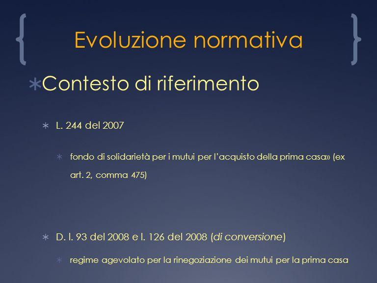 Evoluzione normativa Contesto di riferimento L.