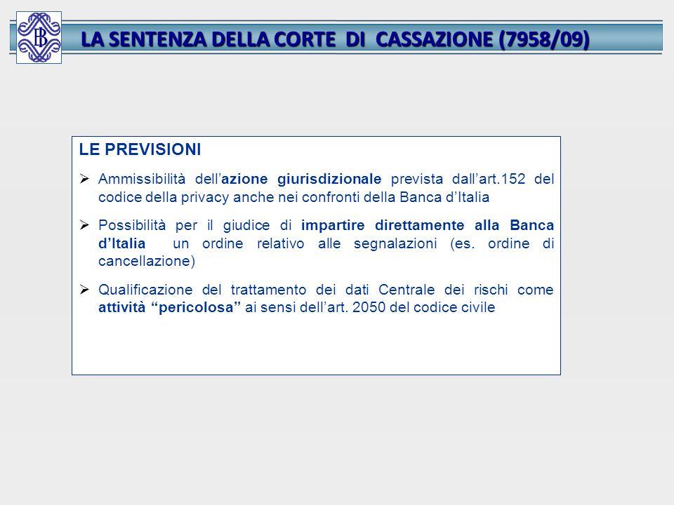 LA SENTENZA DELLA CORTE DI CASSAZIONE (7958/09) LE PREVISIONI Ammissibilità dellazione giurisdizionale prevista dallart.152 del codice della privacy a