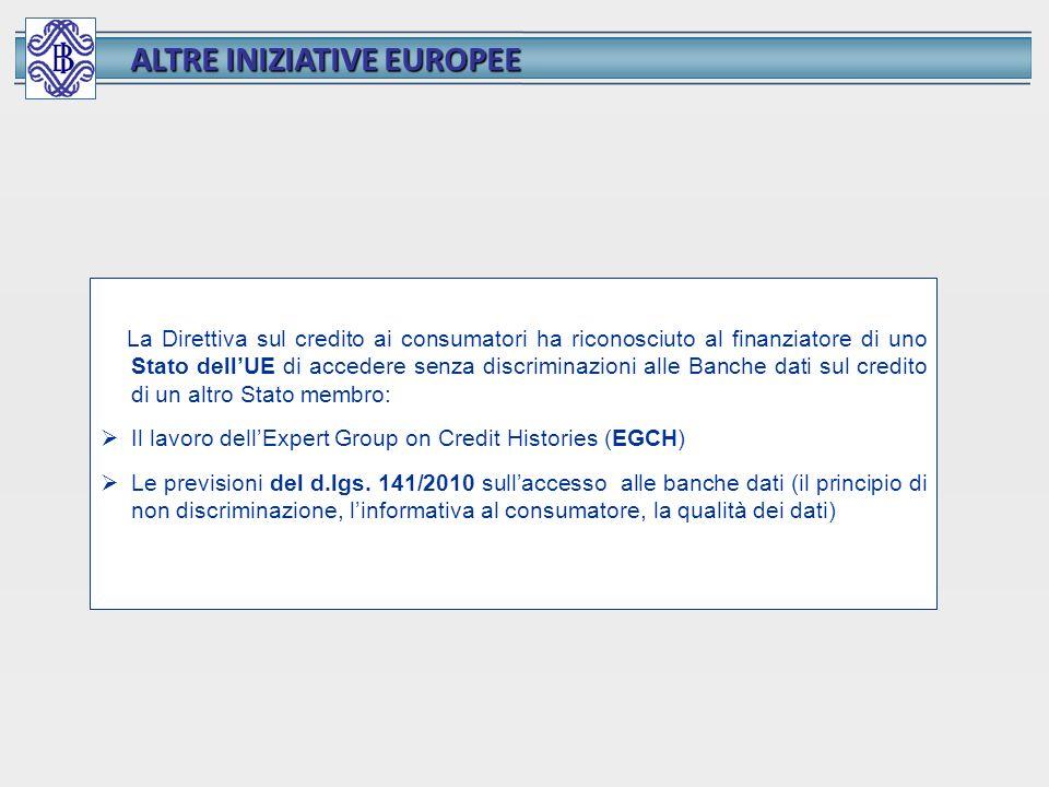 ALTRE INIZIATIVE EUROPEE La Direttiva sul credito ai consumatori ha riconosciuto al finanziatore di uno Stato dellUE di accedere senza discriminazioni