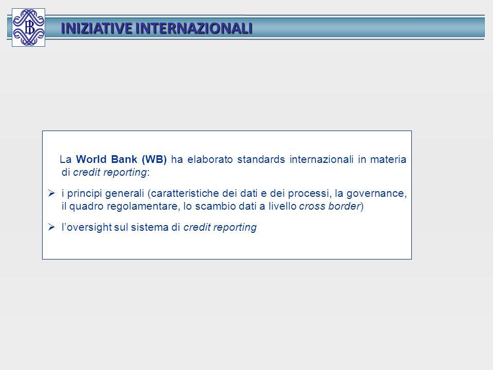 INIZIATIVE INTERNAZIONALI La World Bank (WB) ha elaborato standards internazionali in materia di credit reporting: i principi generali (caratteristich