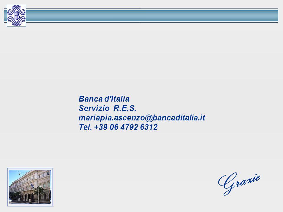 Banca d'Italia Servizio R.E.S. mariapia.ascenzo@bancaditalia.it Tel. +39 06 4792 6312 Grazie