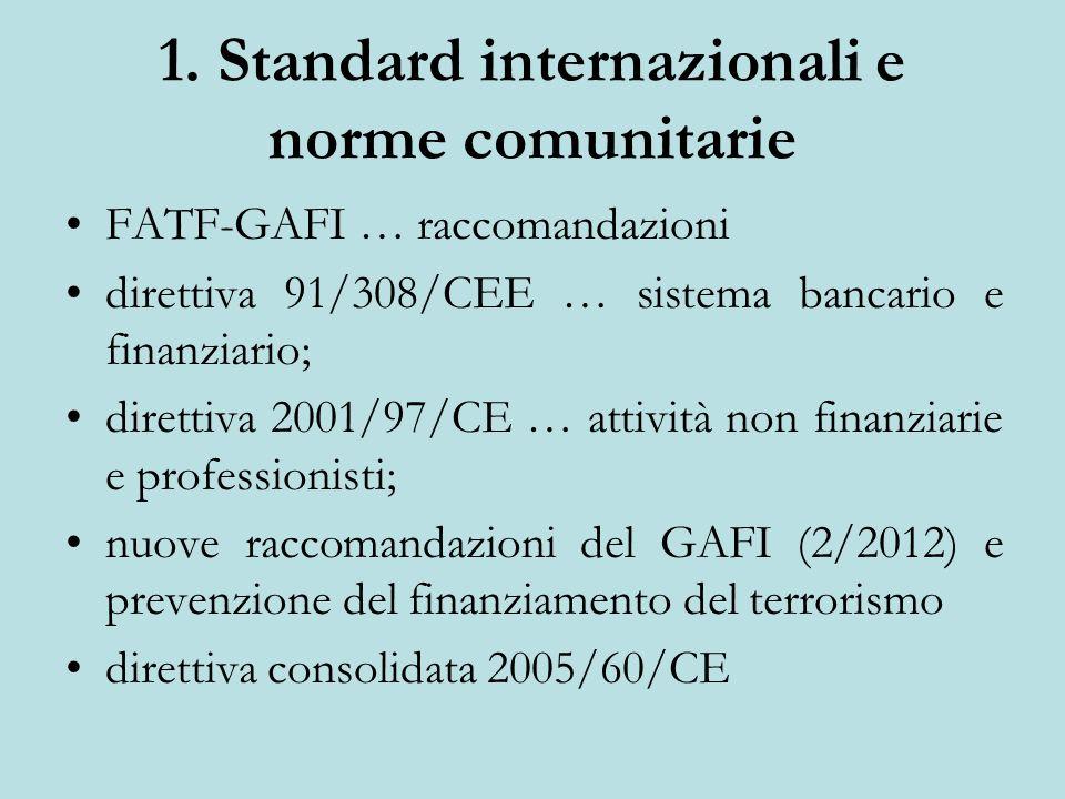 1. Standard internazionali e norme comunitarie FATF-GAFI … raccomandazioni direttiva 91/308/CEE … sistema bancario e finanziario; direttiva 2001/97/CE