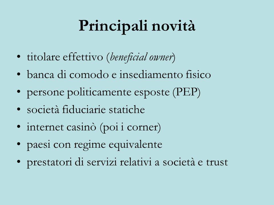 Principali novità titolare effettivo (beneficial owner) banca di comodo e insediamento fisico persone politicamente esposte (PEP) società fiduciarie s