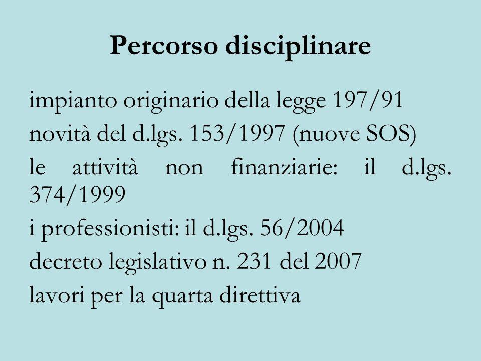 Percorso disciplinare impianto originario della legge 197/91 novità del d.lgs. 153/1997 (nuove SOS) le attività non finanziarie: il d.lgs. 374/1999 i
