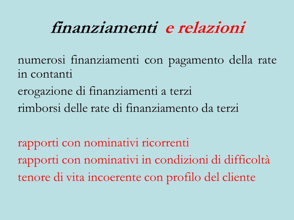 finanziamenti e relazioni numerosi finanziamenti con pagamento della rate in contanti erogazione di finanziamenti a terzi rimborsi delle rate di finan