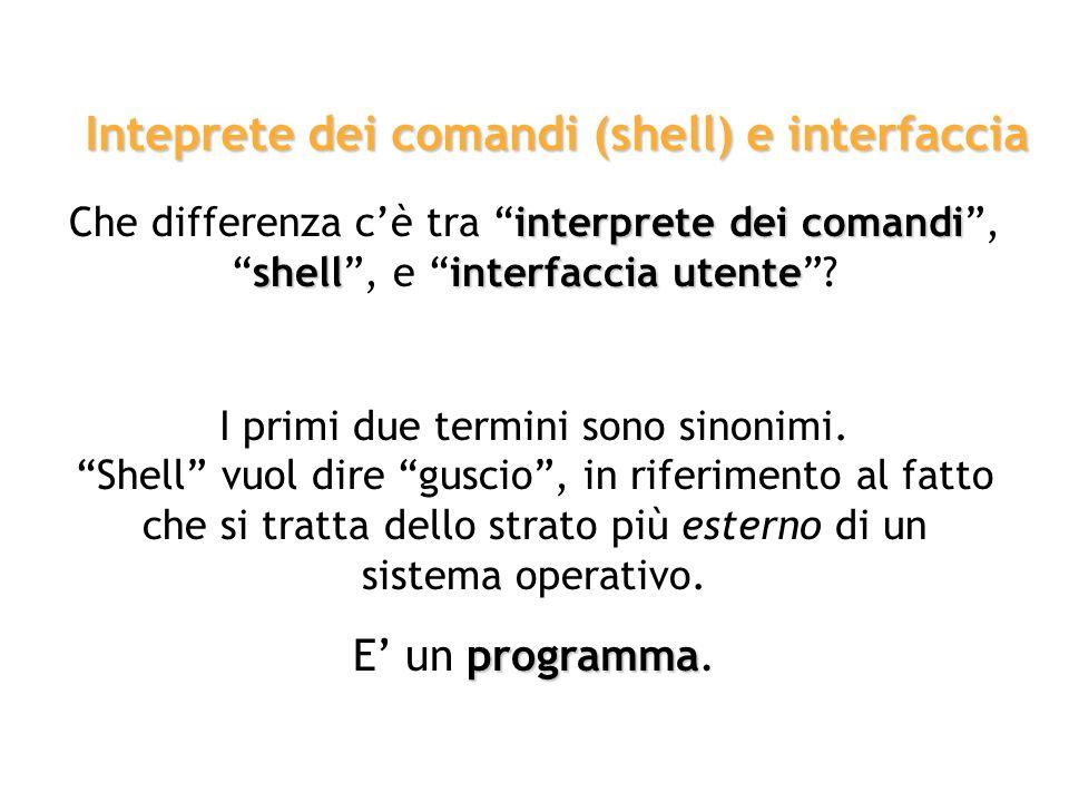 interprete dei comandi Linterprete dei comandi è quella parte del sistema operativo che riceve ed elabora le istruzioni impartite da un utente. Intepr