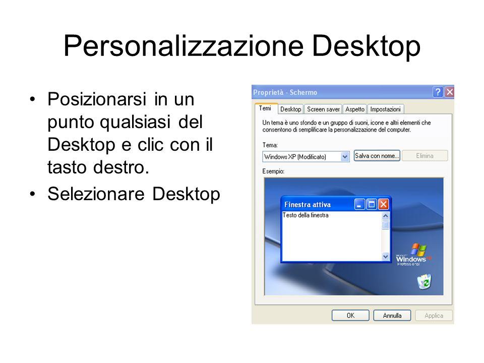Desktop di Windows Xp Il desktop di windows è caratterizzato da una immagine di sfondo che può essere personalizzata. Le icone presenti sul desktop po
