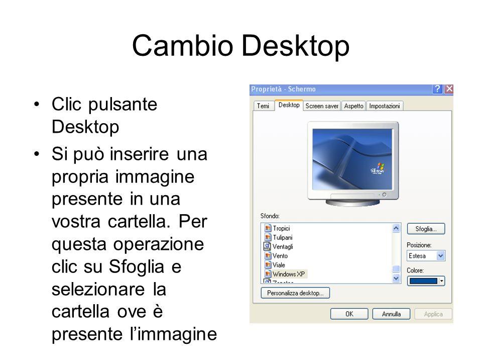 Personalizzazione Desktop Posizionarsi in un punto qualsiasi del Desktop e clic con il tasto destro. Selezionare Desktop