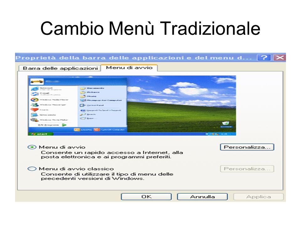 Cambio Menù Windows Xp o menù Standard Posizionarsi con il mouse sulla barra delle applicazioni in basso. Clic su con il tasto destro su selezionare i