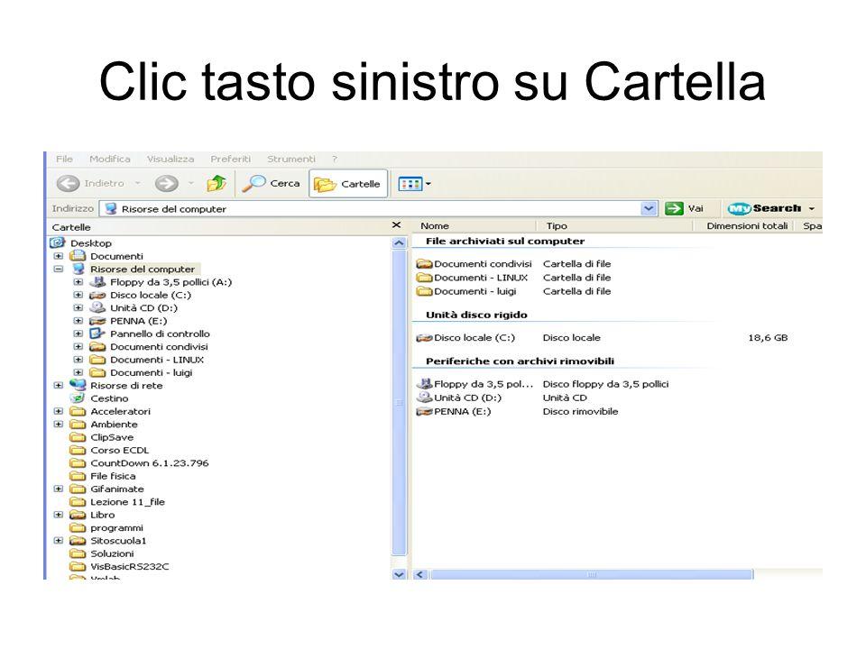 Visualizza contenuto cartella Per visualizzare il contenuto del disco rigido fare clic sullicona visualizza contenuto della cartella