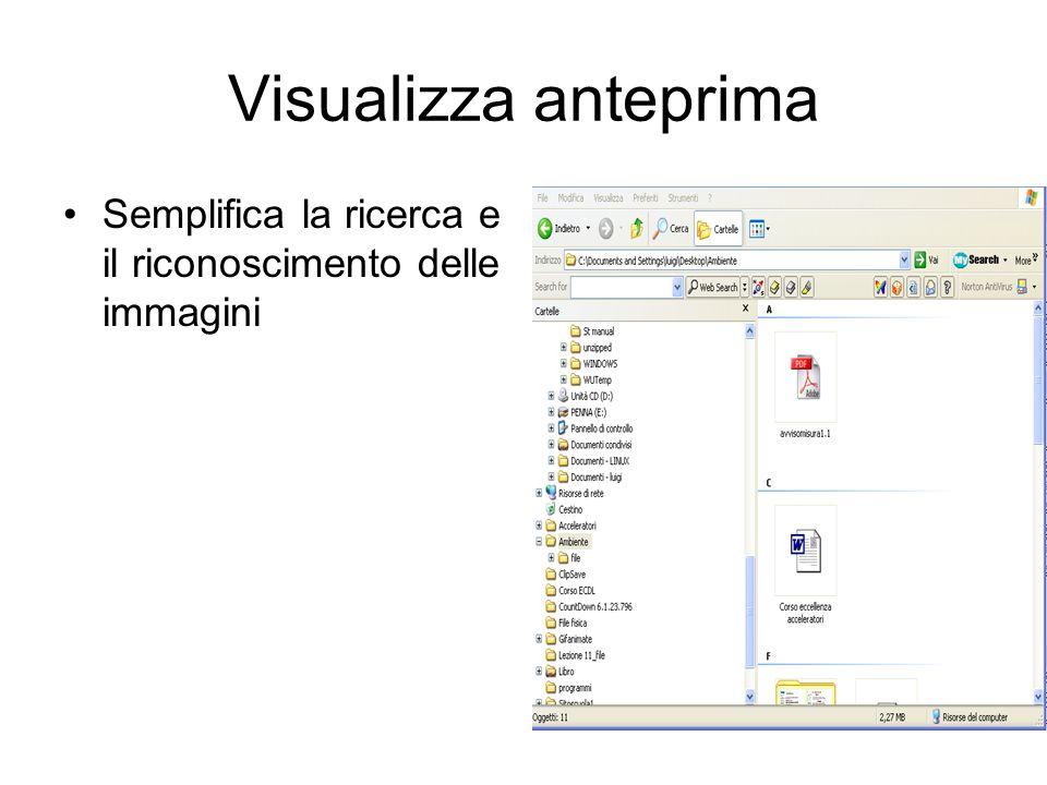 Windows Xp permette ordinamenti più chiari Selezionare con clic da Visualizza Disponi per icone Disponi icone per attivare Visualizza in gruppi
