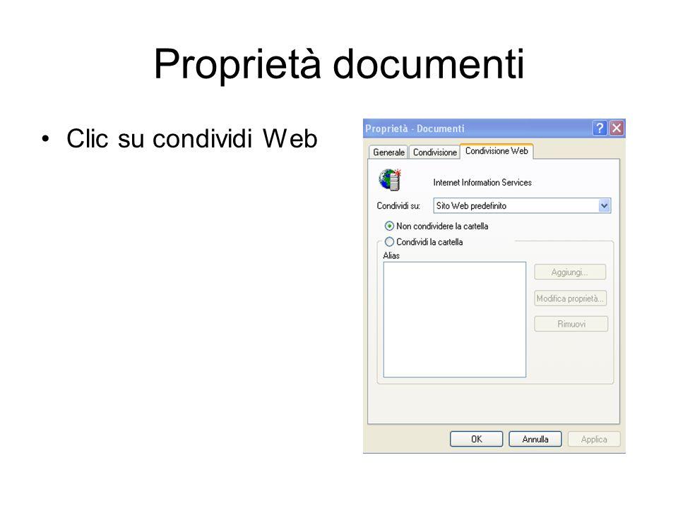 Condivisione documenti Clic su generale Clic su condivisione