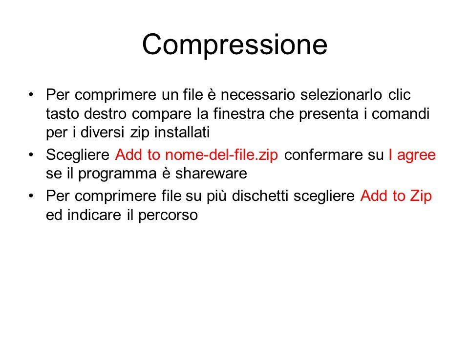Compressione Winzip permette di copiare, compattare, proteggere documenti Pentazip Permette di scegliere tra 10 livelli di compressione WinRar consent
