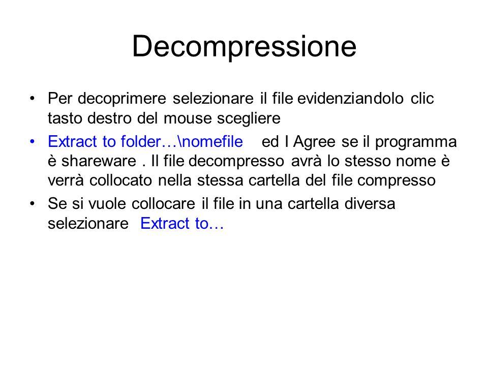 Compressione Per comprimere un file è necessario selezionarlo clic tasto destro compare la finestra che presenta i comandi per i diversi zip installat