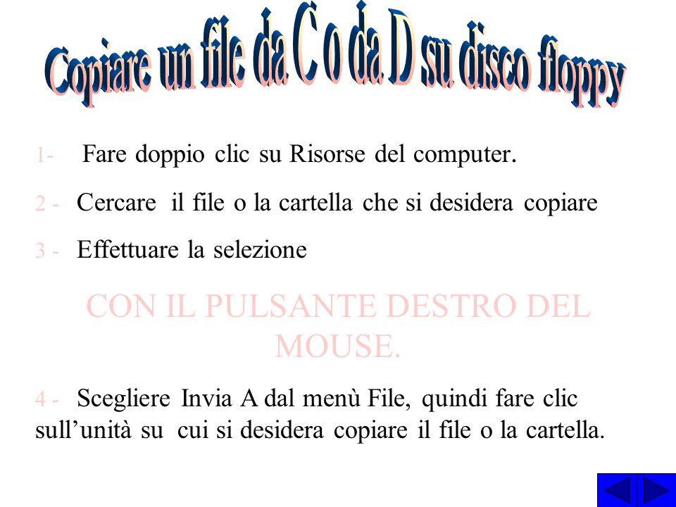 CREARE UNA NUOVA CARTELLA 1 - Fare doppio clic su Risorse del computer, quindi sullunità disco o sulla cartella in cui si desidera inserire la nuova c