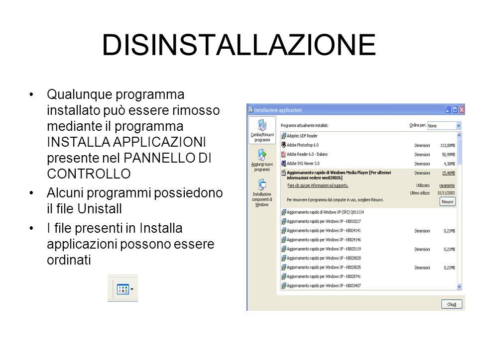 INSTALLAZIONE E DISISTALLAZIONE PROGRAMMI Installazione (I programmi generalmente vengono distribuiti su CD-Rom essi contengono il file eseguibile SET