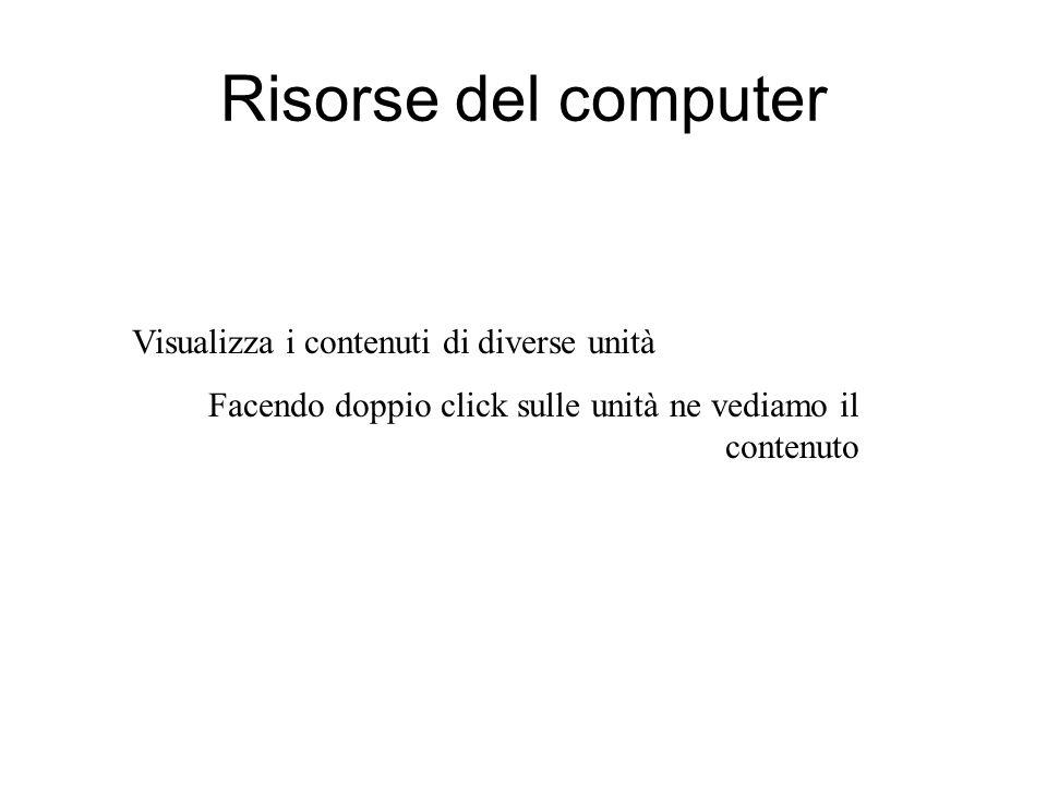 Oggetti visibili sul desktop Le icone possono rappresentare: Programmi Cartelle Singoli documenti