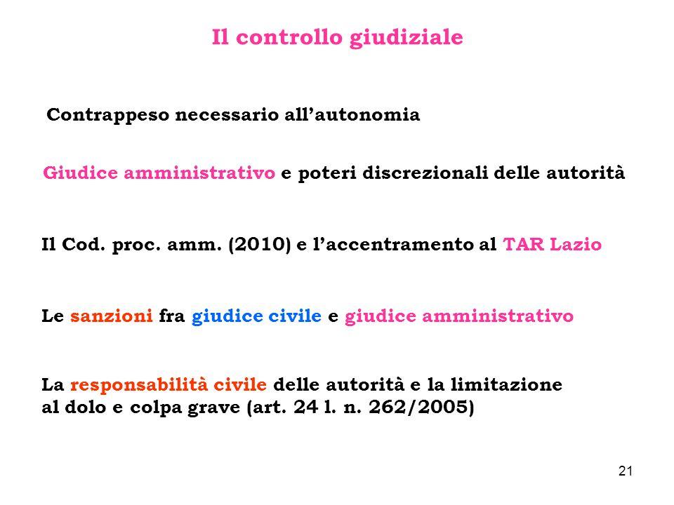 21 Il controllo giudiziale Contrappeso necessario allautonomia Giudice amministrativo e poteri discrezionali delle autorità Il Cod. proc. amm. (2010)