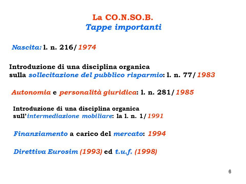 6 La CO.N.SO.B. Tappe importanti Nascita: l. n. 216/ 1974 Introduzione di una disciplina organica sulla sollecitazione del pubblico risparmio : l. n.