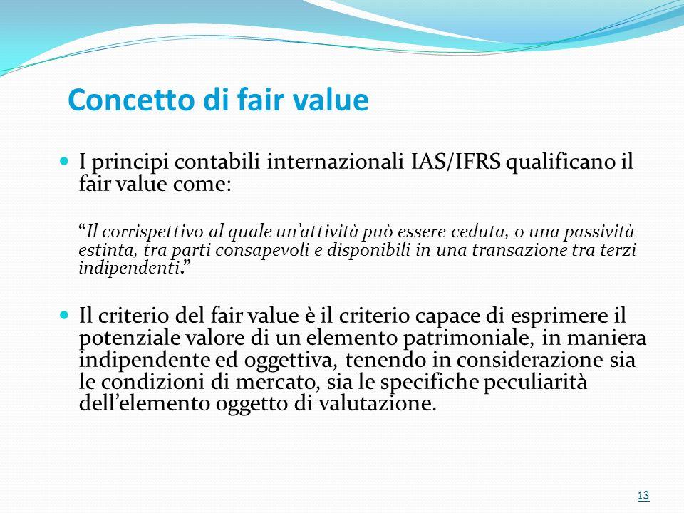 Concetto di fair value I principi contabili internazionali IAS/IFRS qualificano il fair value come: Il corrispettivo al quale unattività può essere ce