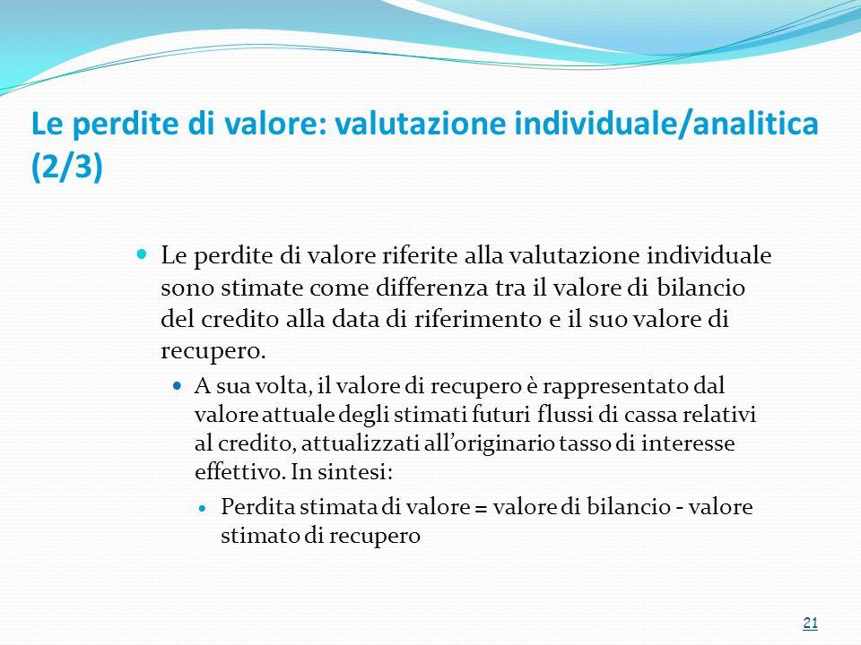 Le perdite di valore riferite alla valutazione individuale sono stimate come differenza tra il valore di bilancio del credito alla data di riferimento e il suo valore di recupero.