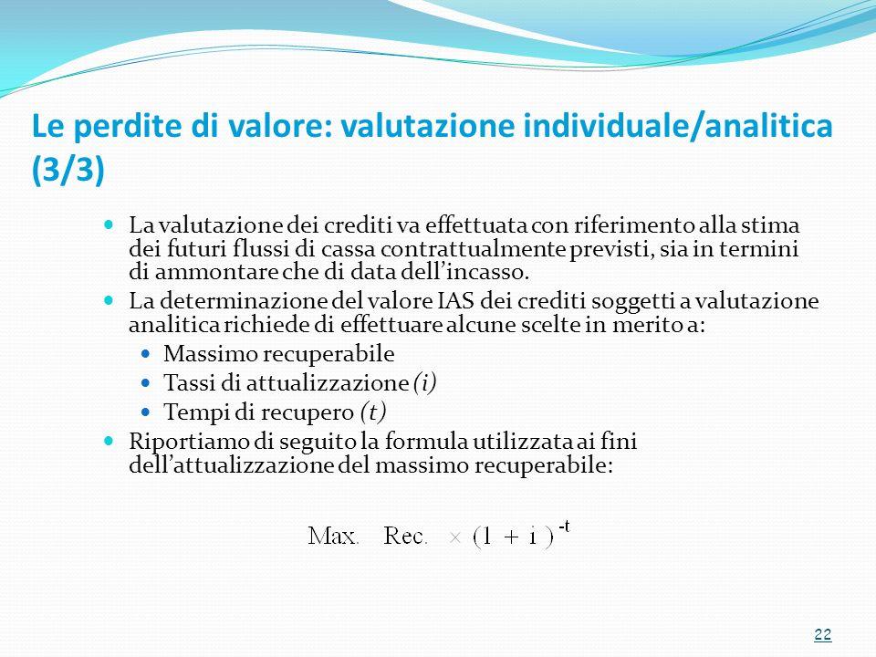 La valutazione dei crediti va effettuata con riferimento alla stima dei futuri flussi di cassa contrattualmente previsti, sia in termini di ammontare che di data dellincasso.