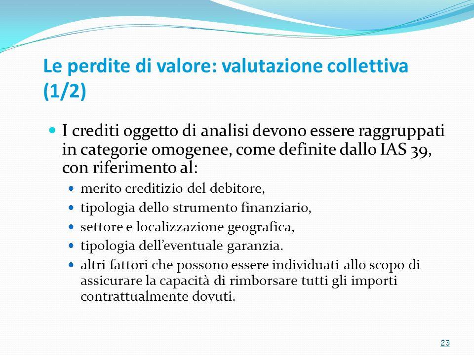 Le perdite di valore: valutazione collettiva (1/2) I crediti oggetto di analisi devono essere raggruppati in categorie omogenee, come definite dallo I