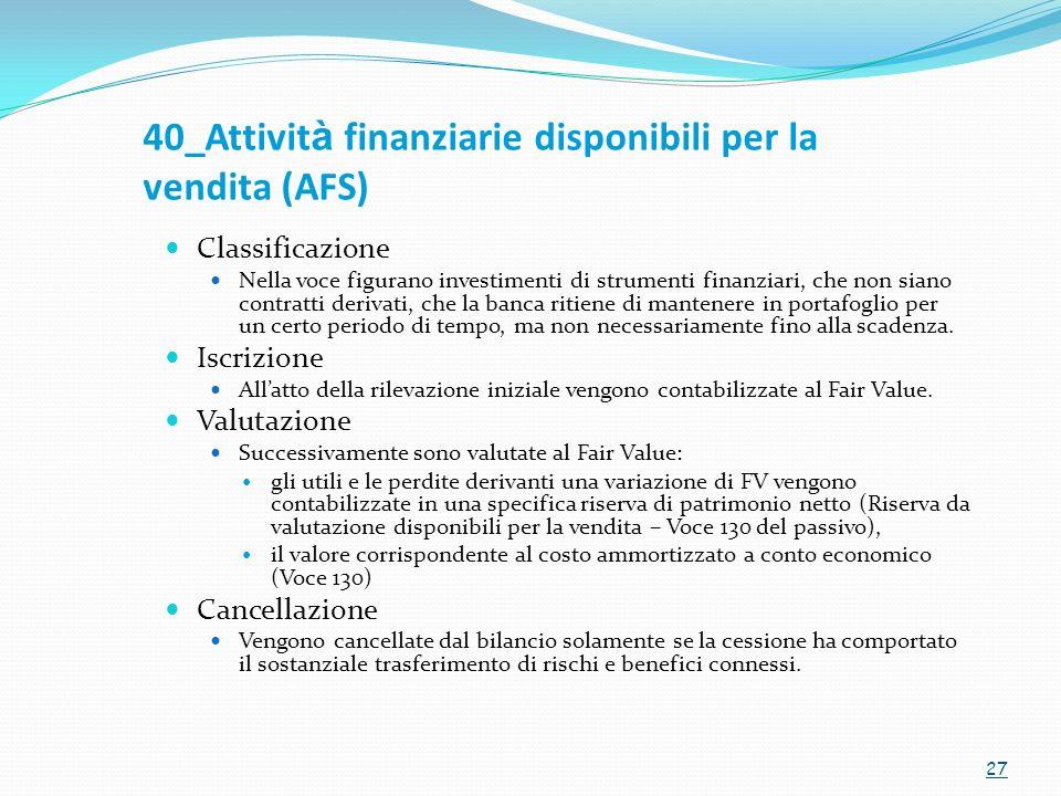 40_Attivit à finanziarie disponibili per la vendita (AFS) Classificazione Nella voce figurano investimenti di strumenti finanziari, che non siano cont